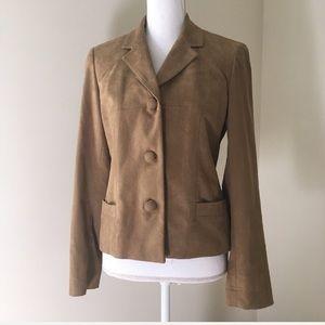Liz Claiborne Tan Microsuede Blazer Jacket 6